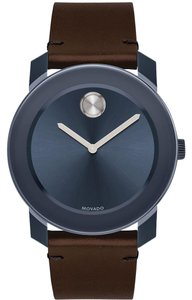 Movado Movado Men's Bold Navy Blue Sunray Dial Brown Leather Watch 3600461