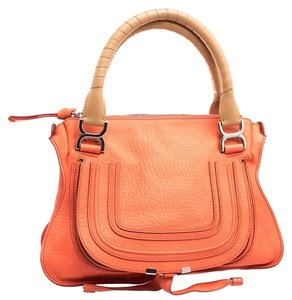Chloé Marcie Leather Fabric Satchel in Orange