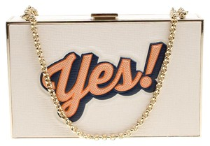 Anya Hindmarch Leather Suede White Clutch