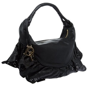 Dior Leather Lace-like Satin Hobo Bag