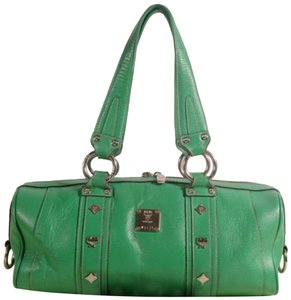 MCM Papillon Barrel Bedford Boston Tote in Green