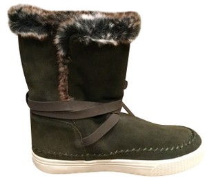 TOMS Genuine Suede Waterproof Suede Faux Fur Army Green Boots
