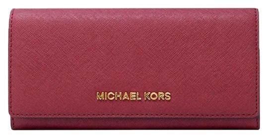 3317ce9e7d433a Michael Kors Cherry Gold Red Jet Set Carryall Leather Wallet - Tradesy