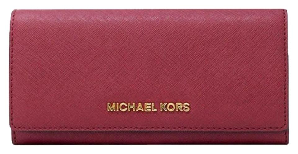 7bef8e1bb0fe Michael Kors Cherry Gold Red Jet Set Carryall Leather Wallet - Tradesy