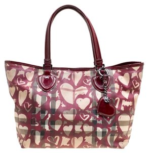 Burberry Coated Canvas Patent Leather Tote in Burgundy