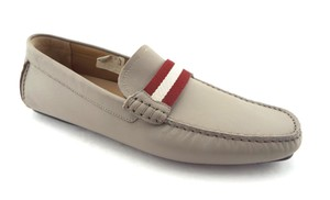 Bally Grey Taupe Leather Men's Slip-on Driving Moccasin Loafers Shoes
