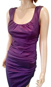Sangria Ruched Bodycon Sleeveless Dress