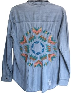 Rails Aztec Chambray Button Down Shirt Light Blue