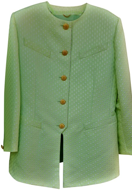 Item - Light Green with A Marque Diamond Shape Small Pattern In Cream with A Touch Of Light Gold For Outlining The Pattern Very Skirt Suit Size 12 (L)