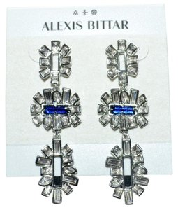Alexis Bittar ALEXIS BITTAR Triple Tier Drop Post Earrings Silver Blue Sapphire