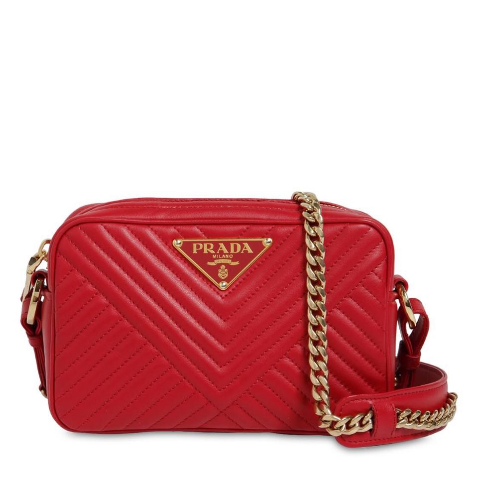 6da3b8948a30 Prada Quilted Triangle Camera Red Leather Cross Body Bag - Tradesy