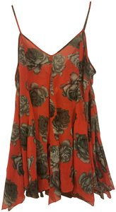 Free People short dress Red Flowy Bright Floral Beachy Unique on Tradesy