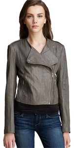 Twelfth St. by Cynthia Vincent Leather Moto Embossed Asymmetrical Grey Leather Jacket