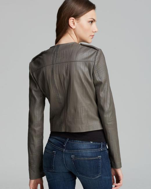 Twelfth St. by Cynthia Vincent Moto Embossed Asymmetrical Grey Leather Jacket Image 1