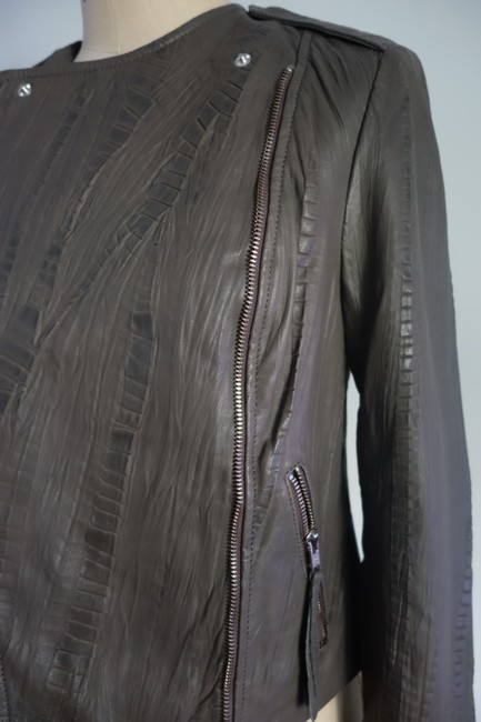 Twelfth St. by Cynthia Vincent Moto Embossed Asymmetrical Grey Leather Jacket Image 10