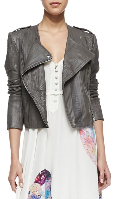 Twelfth St. by Cynthia Vincent Moto Embossed Asymmetrical Grey Leather Jacket Image 2