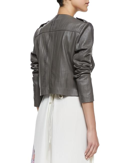 Twelfth St. by Cynthia Vincent Moto Embossed Asymmetrical Grey Leather Jacket Image 3