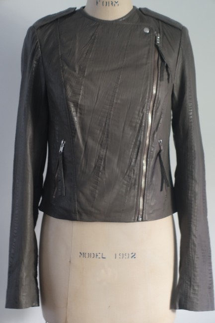 Twelfth St. by Cynthia Vincent Moto Embossed Asymmetrical Grey Leather Jacket Image 4