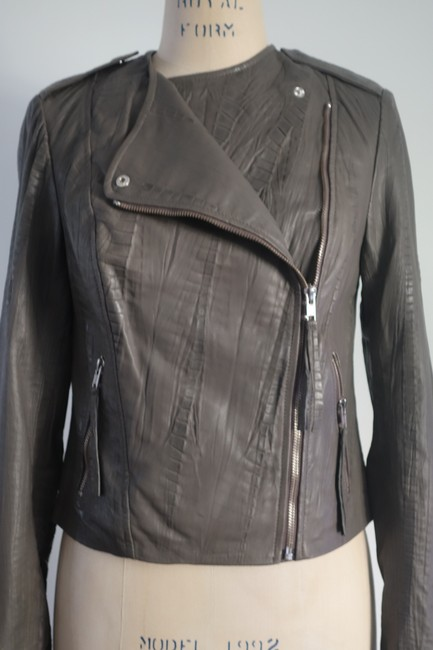 Twelfth St. by Cynthia Vincent Moto Embossed Asymmetrical Grey Leather Jacket Image 5