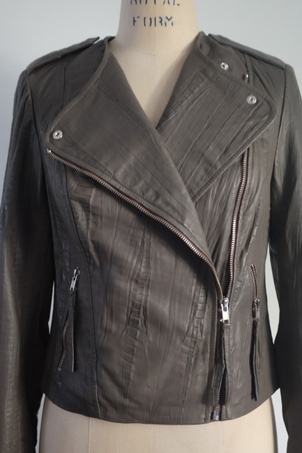 Twelfth St. by Cynthia Vincent Moto Embossed Asymmetrical Grey Leather Jacket Image 6
