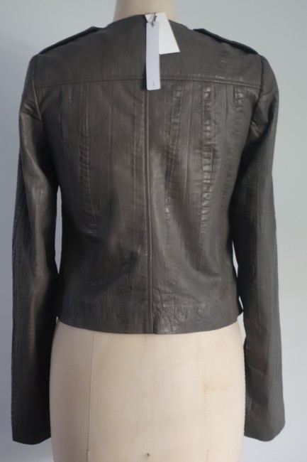 Twelfth St. by Cynthia Vincent Moto Embossed Asymmetrical Grey Leather Jacket Image 7