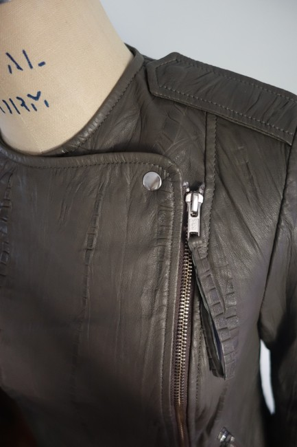 Twelfth St. by Cynthia Vincent Moto Embossed Asymmetrical Grey Leather Jacket Image 8