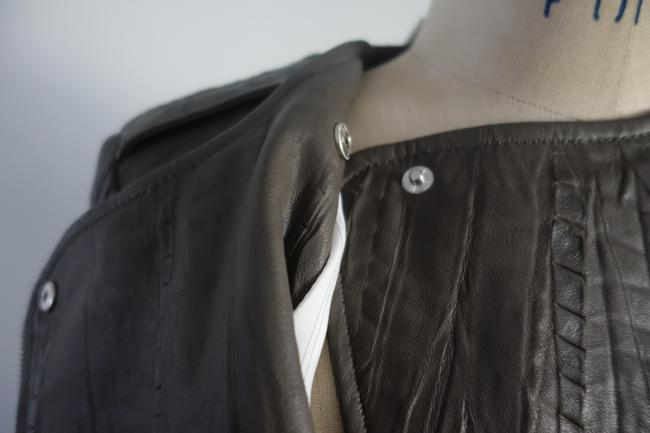 Twelfth St. by Cynthia Vincent Moto Embossed Asymmetrical Grey Leather Jacket Image 9