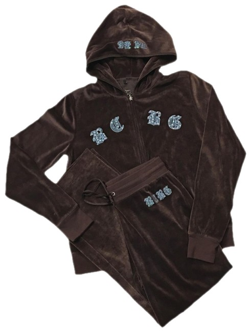 Item - Chocolate Brown Sequin Cross Velour Tracksuit Activewear Outerwear Size 10 (M)