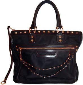 MZ Wallace Bedford Rose Gold Nylon Studded Tote in Black
