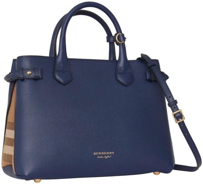 Item - The Medium Banner In Leather and House Check Ink Blue Satchel