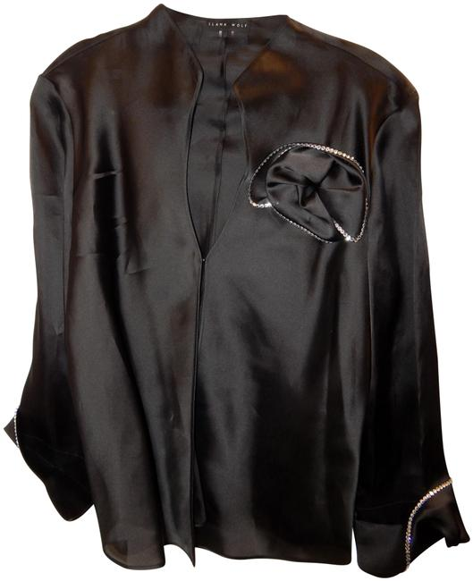 Ilana Wolf Black Silk Crystal Jacket Size 16 (XL, Plus 0x) Ilana Wolf Black Silk Crystal Jacket Size 16 (XL, Plus 0x) Image 1