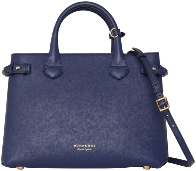 Item - The Medium Banner In Leather and House Check Ink Blue Tote