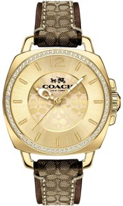 Coach Signature Leather Strap Gold Crystal Dial Boyfriend 14502509