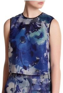 A.B.S. by Allen Schwartz Abs Party Floral Abstract Watercolor Top Blue