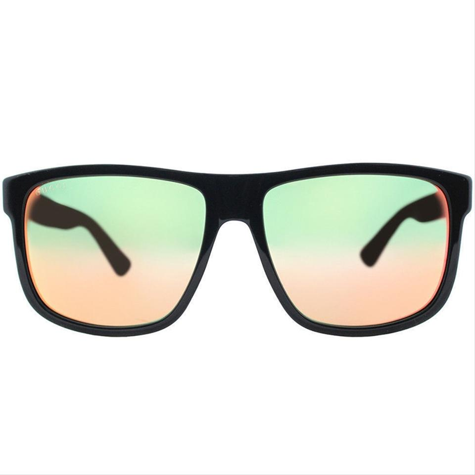 20ab897a765bf Gucci Black Frame   Orange Mirrored Lens Gg0010s 002 Square Style ...