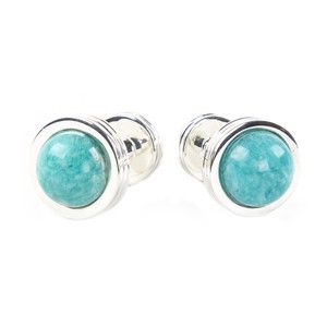 Tiffany & Co. Sterling Silver Amazonite Groove Cufflinks $500 NWOT