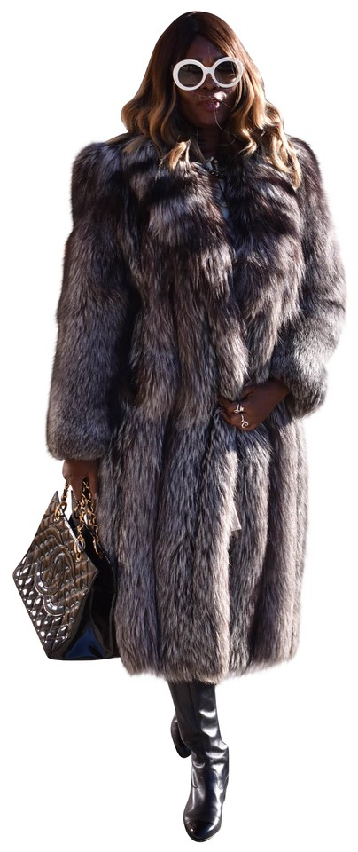 4accec386 Brown/Gray Genuine Silver Fox Women's Full Length Coat Size 10 (M ...