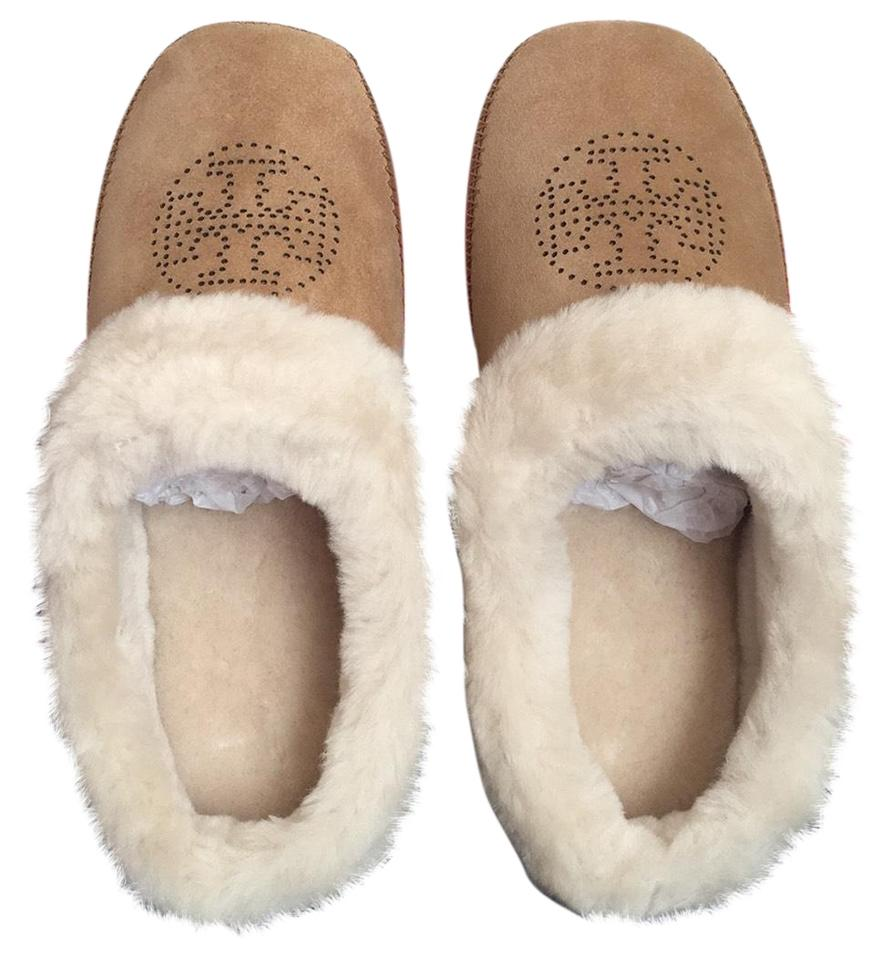 4f97ac4ff8be Tory Burch Tan Coley Perforated Slipper Flats Size US 8 Regular (M ...