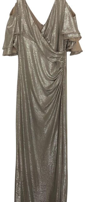 Item - Champagne Gold Silver Gown Long Formal Dress Size 6 (S)
