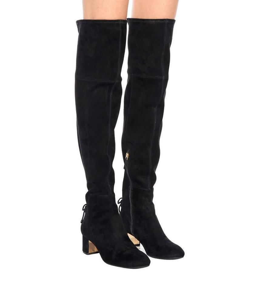 56f94499478 Tory Burch Black Laila Suede Bow Gold Reva Zip Over The Knee Boots Booties