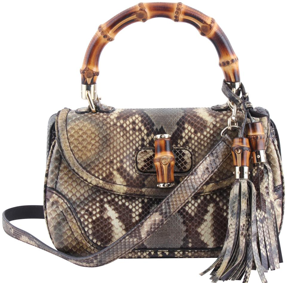 d23acf7c23b6f4 Gucci Top Handle Bag Bamboo Multicolor Python Skin Leather Tote ...