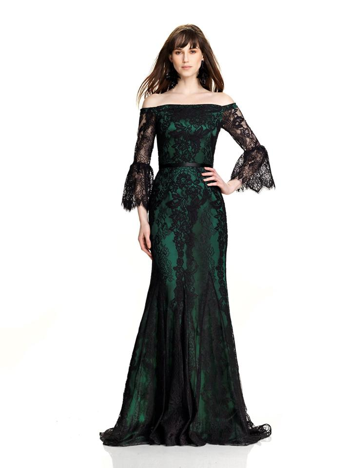 Theia Black Emerald Off The Shoulder Lace Gown 883393 Long Formal