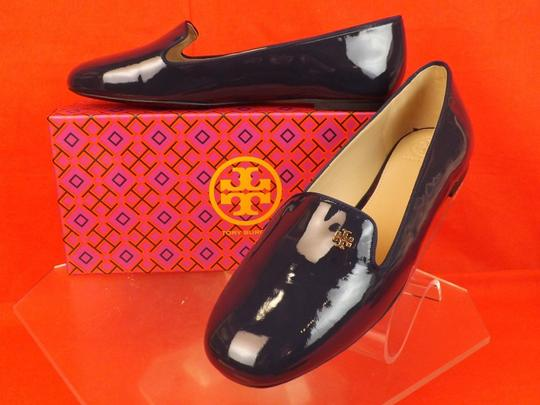 33d3538766c Tory Burch Blue Navy Patent Leather Samantha Gold Reva Smoking ...