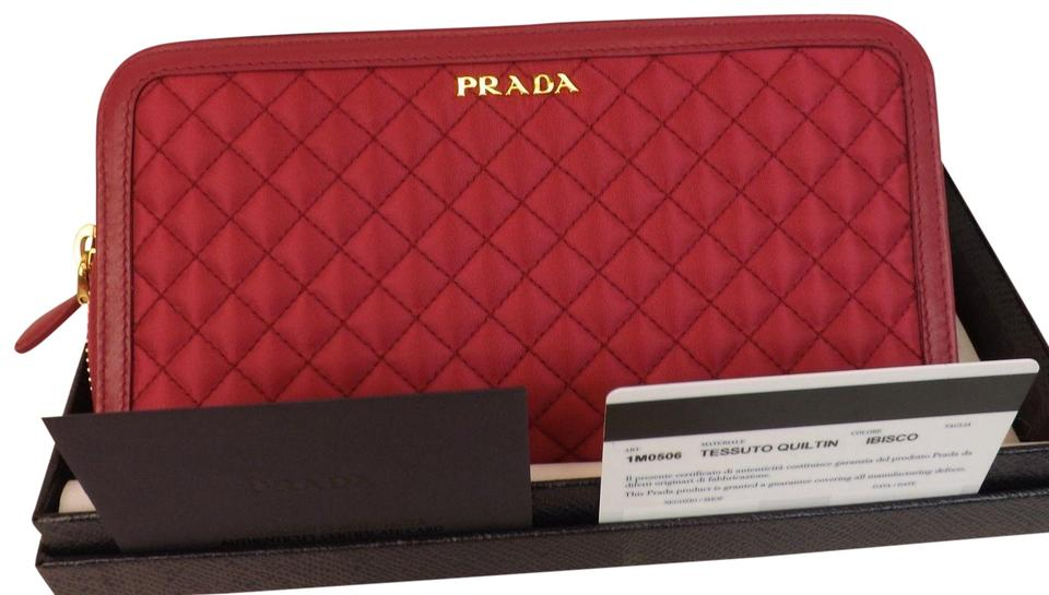 235e600f0d090f Prada Red Ibisco Quilted Nylon Leather Continental Zip Around Wallet ...