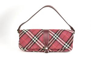 Burberry London Nova Check Leather Woven Shoulder Bag