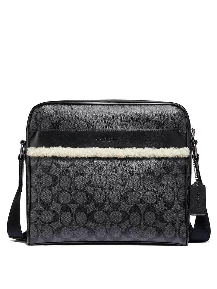 Coach New Mens F35612 Charles Signature Leather Sherpa Camera Black Pvc Cross Body Bag 66 Off Retail