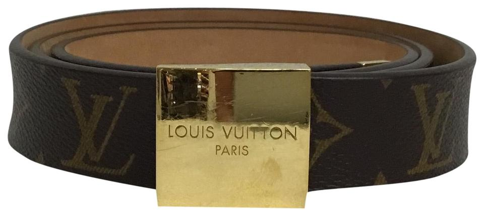 cf886188286f Louis Vuitton Brown Lv Monogram with Gold Square Buckle Belt - Tradesy