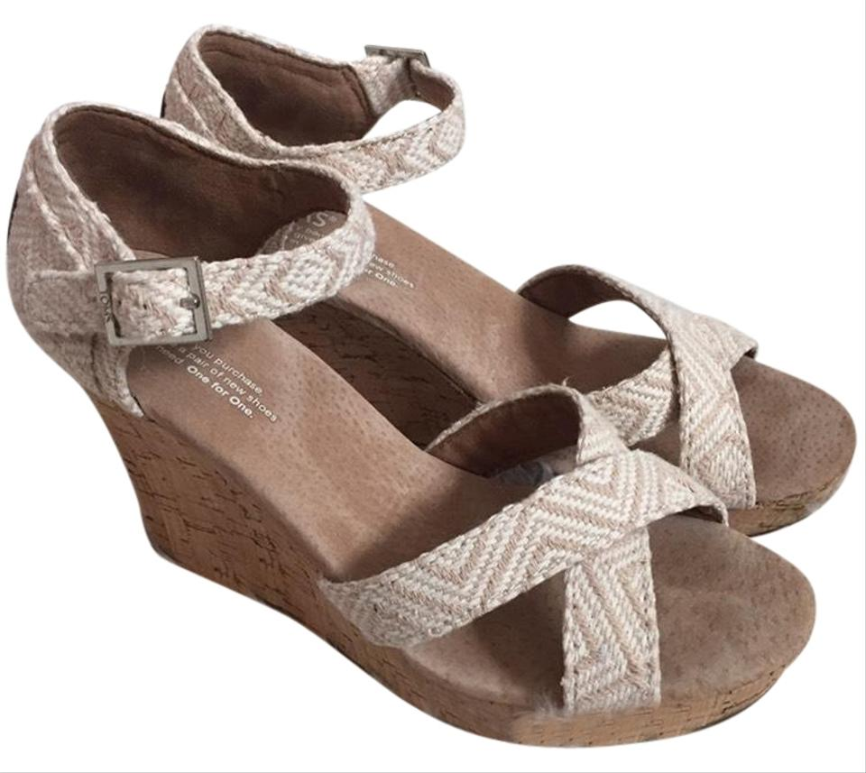 46fd04ccc13 TOMS Beige And White Cork Wedges. Size  US 7 Regular (M ...