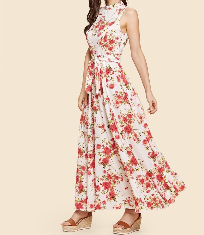 88885feb7ec1 SheIn Multicolor Bow Tie Neck Fit and Flare Floral Long Casual Maxi ...