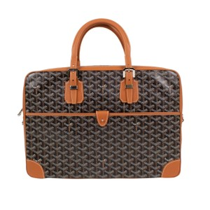 Goyard Leather Briefcase Canvas Buckle Satchel in Black